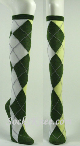 green yellow white argyle socks knee