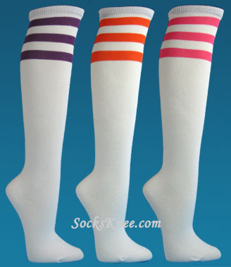 96ddb5bdb Black Striped Fashion Non-athletic Knee Socks White knee socks with  3stripes for women ...