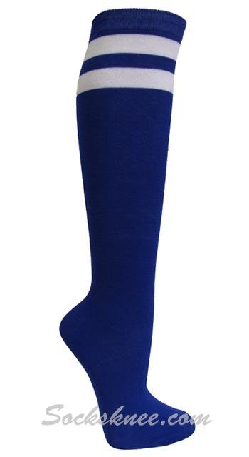 9838a57c02e Blue and 2 White Stripes Knee High Socks for Women   Junior