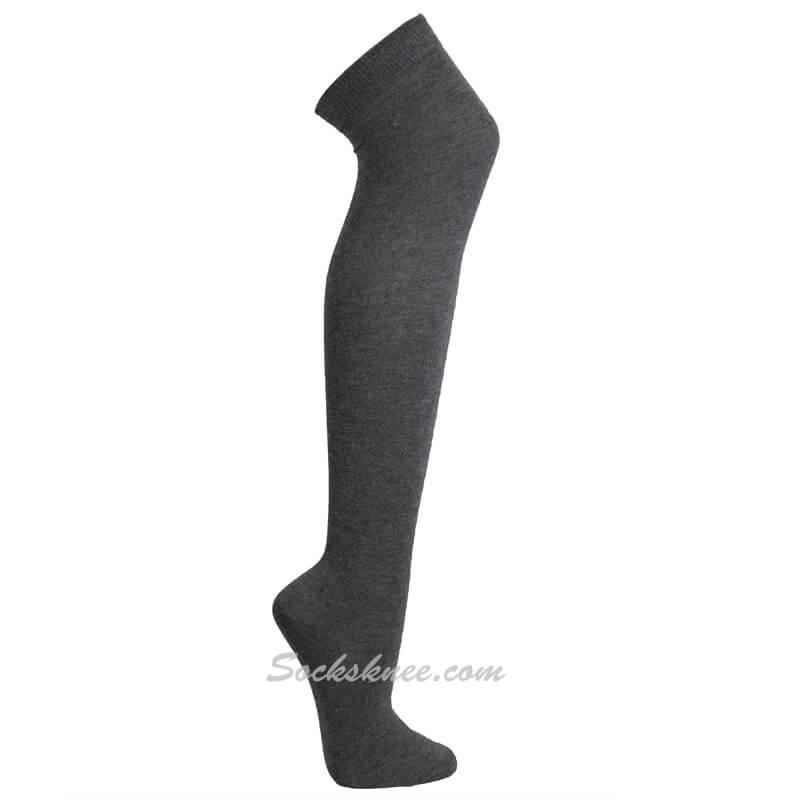 4944bd5c031 Charcoal Women Over knee Thigh high boot socks Gray dress knee socks ...