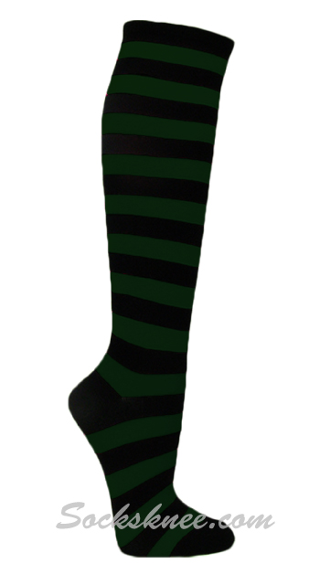 21831c57693 Black   Dark Green Thin Striped Premium Quality Knee High Socks