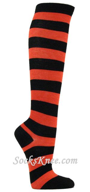 a1719c56e Dark Orange and Black Wider Striped Knee high socks Knee Sock shop ...