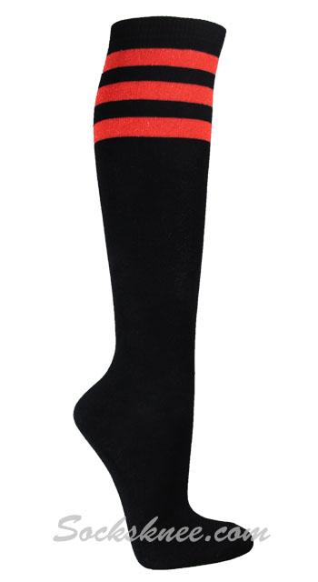 2aa773632 Black Vivid Ladies 3 Glitter Red Stripes Knee High Socks