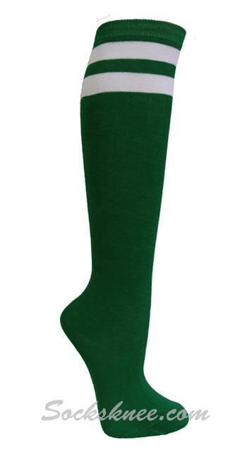 b2aea752e Green and 2 White Stripes Knee High Socks for Women & Junior :