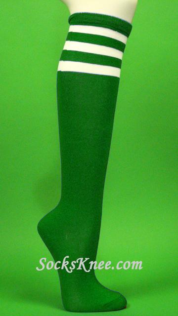 e1cea5314 Green with 3 White Stripes Women's Knee Hi Socks :