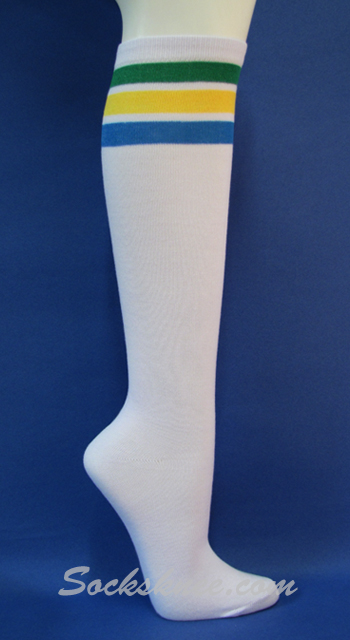 6a1ff2ff1 White and Lavender Quality striped knee high socks for women White ...