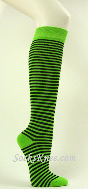 Lime Green And Black Thin Striped Knee High Socks Knee