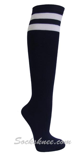 1446419e255 Navy and 2 White Stripes Knee High Socks for Women   Junior