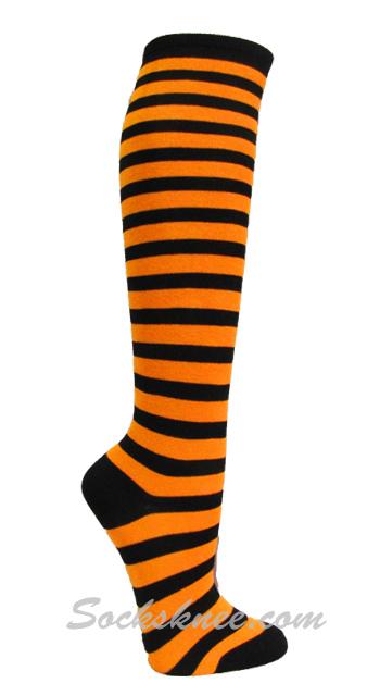 20b5ae455 Light Orange   Black striped Knee Ladies womens socks