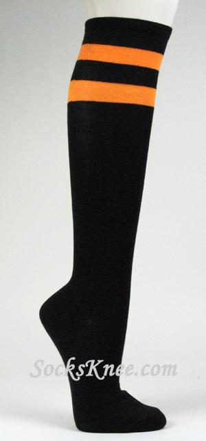 bfa86592c Orange Striped Black Knee High Socks for Women