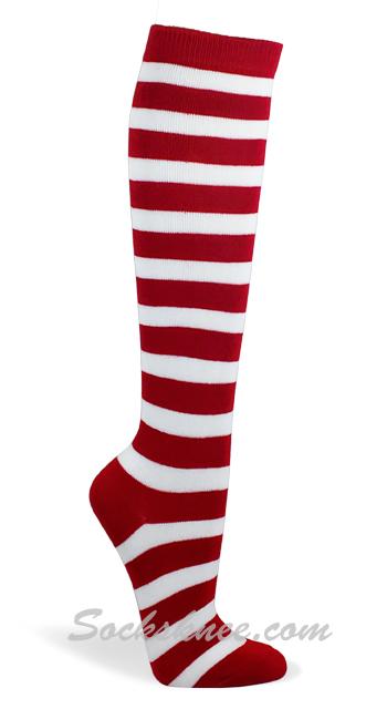 0c910930c08 Christmas Red   White Stripes Women s Fashion High Socks