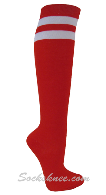 ba472f334a3 Red and 2 White Stripes Knee High Socks for Women   Junior