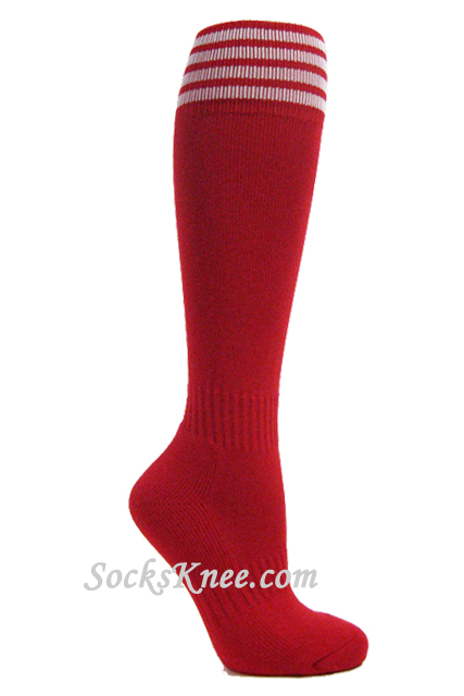 authorized site top quality on sale Red youth Football/Sports knee socks w white stripes Striped ...