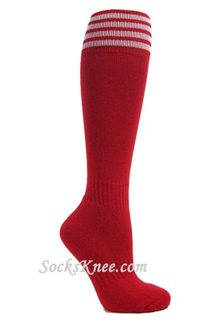 White Toe Socks Knee Socks w White Stripes