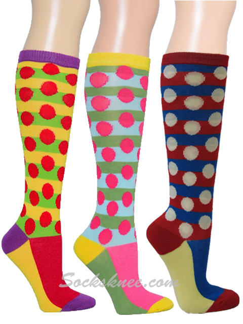 be832d894ef Blue   Bright Blue Striped With Dots Women Knee High Socks