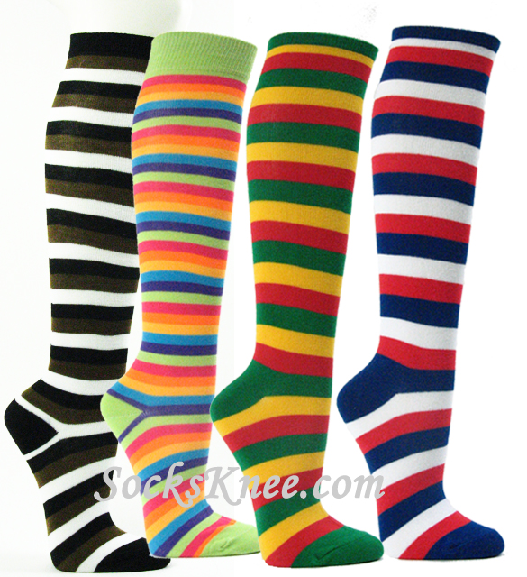 019368fff Solid color Knee High Socks Knee Socks Multi Color Striped youth striped  soccer socks