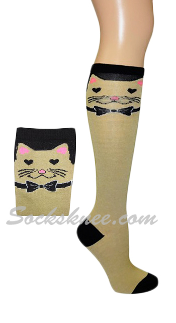 1961c765294 Cat with Bow Ties Taupe Knee High Fashion Socks